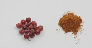 Περιστροφή σκονών κόκκινων πιπεριών Μακρο πυροβολισμός σε ένα άσπρο κλίμα φιλμ μικρού μήκους