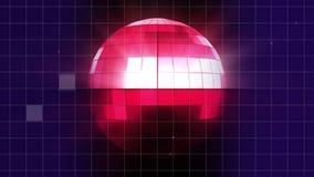 Περιστροφή της ρόδινης σφαίρας disco με το μπλε και ρόδινο υπόβαθρο απεικόνιση αποθεμάτων
