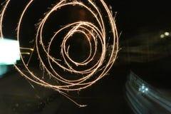 Περιστροφή Sparkler στους κύκλους Στοκ Εικόνα