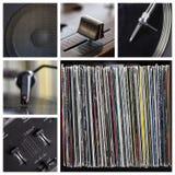 περιστροφική πλάκα εργαλείων μερών του DJ κολάζ κινηματογραφήσεων σε πρώτο πλάνο Στοκ εικόνα με δικαίωμα ελεύθερης χρήσης
