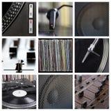 περιστροφική πλάκα εργαλείων μερών του DJ κολάζ κινηματογραφήσεων σε πρώτο πλάνο Στοκ εικόνες με δικαίωμα ελεύθερης χρήσης