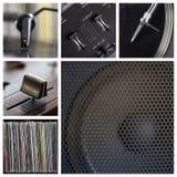 περιστροφική πλάκα εργαλείων μερών του DJ κολάζ κινηματογραφήσεων σε πρώτο πλάνο Στοκ Εικόνες