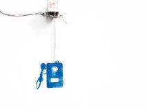 Περιστροφικό τηλέφωνο καλωδίων στο άσπρο υπόβαθρο Στοκ Φωτογραφίες