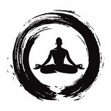Περισυλλογή γιόγκας με το διάνυσμα προτύπων λογότυπων κύκλων της Zen απεικόνιση αποθεμάτων