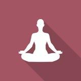 Περισυλλογή ή meditate εικονίδιο με τη σκιά σε ένα επίπεδο σχέδιο ελεύθερη απεικόνιση δικαιώματος