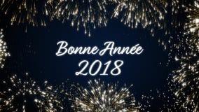 Περιτυλγμένος κοινωνική κάρτα καλής χρονιάς 2018 με ζωντανεψοντα τα χρυσός πυροτεχνήματα στο κομψό μαύρο και μπλε υπόβαθρο βρόχος ελεύθερη απεικόνιση δικαιώματος