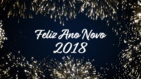 Περιτυλγμένος κοινωνική κάρτα καλής χρονιάς 2018 με ζωντανεψοντα τα χρυσός πυροτεχνήματα στο κομψό μαύρο και μπλε υπόβαθρο βρόχος διανυσματική απεικόνιση