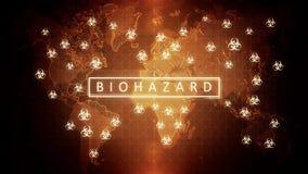 Περιτυλιγμένο βίντεο ενός σφαιρικού προβλήματος του biohazard απεικόνιση αποθεμάτων