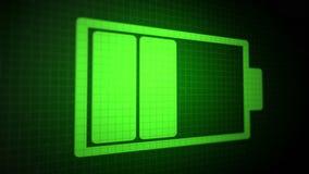 Περιτυλιγμένο ζωντανεψοντα υπόβαθρο με το όξινος-πράσινο χρώμα εικονιδίων μπαταριών φόρτισης στη μαύρη οθόνη εικονοκυττάρου Άνευ  ελεύθερη απεικόνιση δικαιώματος
