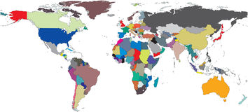 περιφερειακός κόσμος χαρτών Στοκ εικόνα με δικαίωμα ελεύθερης χρήσης