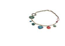 Περιδέραιο και κρεμαστά κοσμήματα που απομονώνονται στο άσπρο υπόβαθρο Στοκ εικόνα με δικαίωμα ελεύθερης χρήσης