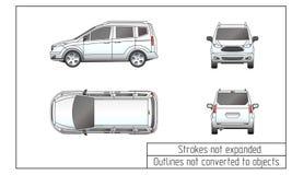 Περιλήψεις αυτοκινήτων van drawing που δεν μετατρέπονται στα αντικείμενα Στοκ Εικόνες