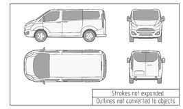 Περιλήψεις αυτοκινήτων van drawing που δεν μετατρέπονται στα αντικείμενα Στοκ Εικόνα