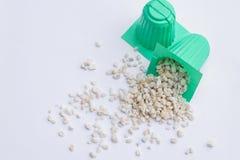Περλίτης με το πράσινο φλυτζάνι για hydroponics Στοκ εικόνες με δικαίωμα ελεύθερης χρήσης