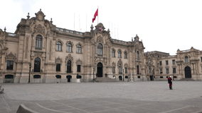 Περουβιανή προεδρική πρόσοψη παλατιών της Λίμα σε στο κέντρο της πόλης Στοκ φωτογραφία με δικαίωμα ελεύθερης χρήσης