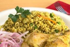 Περουβιανό Arroz con Pollo (ρύζι με το κοτόπουλο) Στοκ φωτογραφία με δικαίωμα ελεύθερης χρήσης
