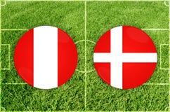 Περού εναντίον του αγώνα ποδοσφαίρου της Δανίας Στοκ Εικόνες