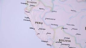 Περού σε έναν χάρτη με Defocus απόθεμα βίντεο