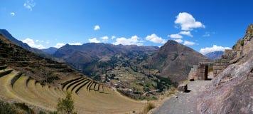 Περού, Pisac Pisaq - καταστροφές Inca στην ιερή κοιλάδα στις περουβιανές Άνδεις στοκ φωτογραφία
