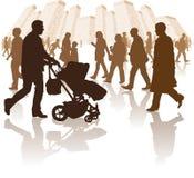 περπάτημα ανθρώπων πόλεων διανυσματική απεικόνιση