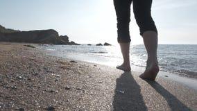 Περπάτημα θαλασσίως στην ανατολή απόθεμα βίντεο