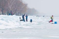 Περπάτημα και πάγος ανθρώπων που κάνουν πατινάζ στην παγωμένη λίμνη Balaton Στοκ εικόνα με δικαίωμα ελεύθερης χρήσης