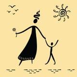 Περπάτημα μητέρων και γιων ελεύθερη απεικόνιση δικαιώματος