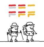 περπάτημα σημαδιών GR ζευγών Στοκ Εικόνες