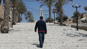 Περπάτημα στην παλαιά πόλη Jaffa απόθεμα βίντεο