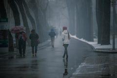 Περπάτημα στο χιόνι Στοκ Φωτογραφίες
