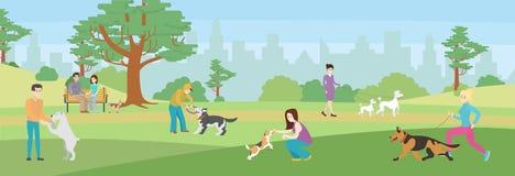 Περπάτημα των σκυλιών στο πάρκο διανυσματική απεικόνιση