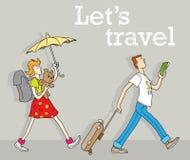 Περπατώντας αστείο ζεύγος των ταξιδιωτών με τις αποσκευές διανυσματική απεικόνιση