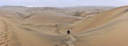 Περπατώντας μόνο στην έρημο Huacachina, Περού Στοκ Εικόνα