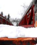 Περπατώντας τη γέφυρα που καλύπτεται στο χιόνι Στοκ Εικόνες