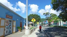 Περπατώντας τη γούρνα η οδός του νησιού Αγίου Thomas, Άγιος Thomas, U S νησιά Virgin απόθεμα βίντεο