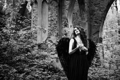 Πεσμένος άγγελος με τα μαύρα φτερά Στοκ φωτογραφίες με δικαίωμα ελεύθερης χρήσης
