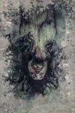 Πεσμένος άγγελος, διάβολος, άτομο πέρα από το κατασκευασμένο υπόβαθρο Στοκ Εικόνες