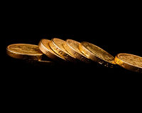 πεσμένος νομίσματα λίβρα Στοκ Φωτογραφίες