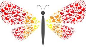 Πεταλούδα με τα φτερά καρδιών Στοκ Φωτογραφία