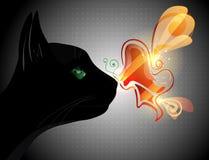 Πεταλούδα στη μύτη γατών ελεύθερη απεικόνιση δικαιώματος