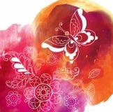 Πεταλούδα στο ζωηρόχρωμο υπόβαθρο watercolor Στοκ Φωτογραφίες