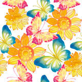 Πεταλούδες και λουλούδια στο watercolor Στοκ φωτογραφία με δικαίωμα ελεύθερης χρήσης