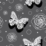 Πεταλούδες andRoses - κήπος πεταλούδων, άνευ ραφής σχέδιο επανάληψης ελεύθερη απεικόνιση δικαιώματος