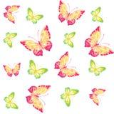 Πεταλούδες Watercolor κόκκινες και πράσινες Στοκ Φωτογραφία