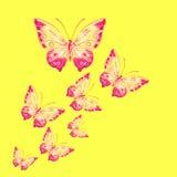 Πεταλούδες Watercolor σε ένα κίτρινο υπόβαθρο Στοκ φωτογραφία με δικαίωμα ελεύθερης χρήσης