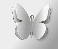 Πεταλούδα εντόμων διανυσματική περίληψη που απομονώνεται γκρίζα Στοκ Φωτογραφία
