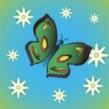 Πεταλούδα με τα λουλούδια Στοκ φωτογραφία με δικαίωμα ελεύθερης χρήσης