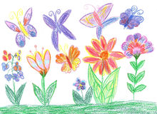 Πεταλούδα σχεδίων παιδιών και φύση λουλουδιών Στοκ Εικόνες