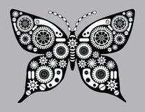 Πεταλούδα Steampunk Φανταστικό έντομο στο εκλεκτής ποιότητας ύφος για τη δερματοστιξία, την αυτοκόλλητη ετικέττα, την τυπωμένη ύλ Στοκ εικόνες με δικαίωμα ελεύθερης χρήσης