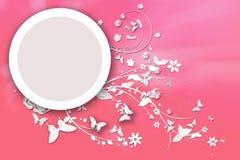 Πεταλούδες γύρω από τον κύκλο στο ροζ Στοκ Εικόνες